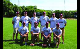 Front Row: Assistant Coach Chad Hovland, Head Coach Bob Fink, Assistant Coaches Mike Scheffler and Jeff Kuehn. Back Row: Assistant Coaches Adam Meyer, Shane Neperman, Cliff Heglund, Pat Moriarty, Chris Rothmeier, and Brandon Wilhelmi.