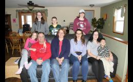 Barry and Karen Reindl and their family — seated at the left is Christina, and at the right are Italian student Giulia Venturini, Jenny and Andrew.  At back are Julieann, T.J. and Jackie.
