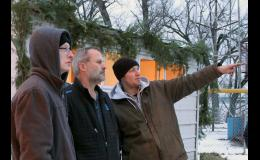 Nick Dauer, right, technical director of the Springfield Nativity Pageant, points out set and scene locations to WCCO's Joe Berglove, who visited Springfield and filmed the presentation Friday evening.  Grady Meendering is at the left.