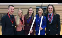 Headed to the 2018 State Class A Speech Tournament on Saturday, April 21 — from left: Colton Jensen, Sarah Dunn, Kate Vogel, Grace Pingeon and Ross VanDerWal.