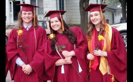 Smile!  You're a graduate! Ross VanDerWal, Makenna Winkelmann and Kate Vogel.