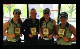 Tiger Girls Golf team wins conference championship for fourth year.  From left:  Mackenzie Lothert, LaCole Weisensel, Makenna Winkelmann,  and Anna Plotz.