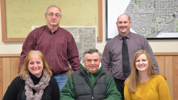 Springfield City Council from left, front row: Ward I Councilor Theresa Beckman, Mayor Lowell Helget, Ward II Councilor Samantha Hesse. Second row: Ward II Councilor Mike Rothmeier and Ward I Councilor John Mueller.