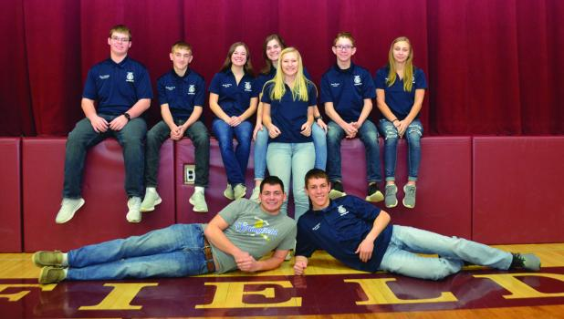 The Springfield FFA Chapter officers are shown above, from left, they are Parliamentarian Connor Scholten, Chaplain Zackary Hensch, Reporter Maddie McCone, Historian Cylee Graff, Vice-President Randell Streich, Treasurer Isaac Rasset, Secretary Mikayla Opatz. Front row Sentinel Jerry Majors and President Noah Richert.