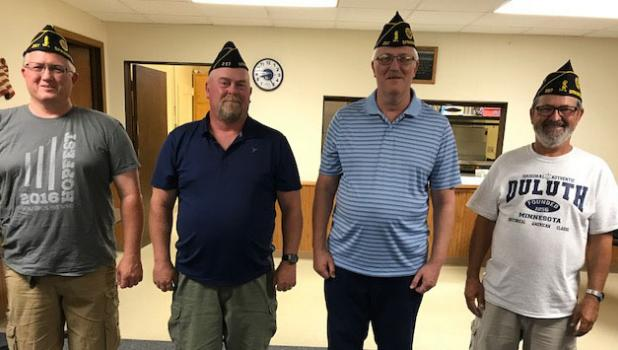 Pictured from left: Dan Portner, second vice commander; Matt Solmonson, first vice commander; Delbert Dalsgaard, commander; and Gene Veerkamp, past commander.  Third Vice Commander Monica Platz was unavailable for picture.