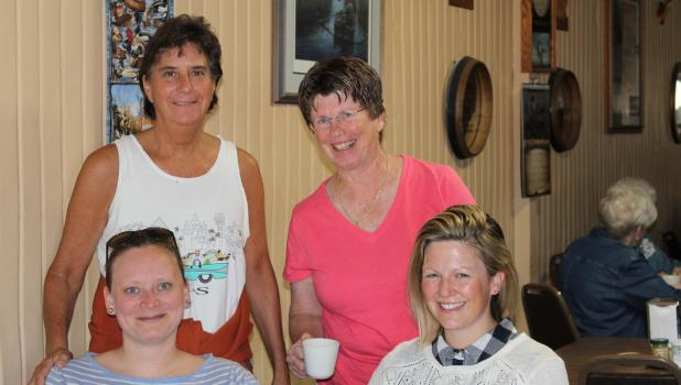 """Elli Götz and Marie O'Leary are pictured with Shelly Frantz and Marie's mother, Colleen O'Leary,"""" during their visit at Fritz' Café."""