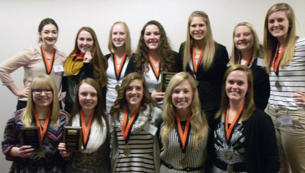 Fifteen students from Springfield High School will enter Business Professionals of America competition in Minneapolis.  They  competed in Region 8 BPA Competition at Granite Falls  to earn a trip to state.   Pictured, front: Katie Rosenstengel, Hannah Johnson, Mariah Hoyt, Amanda Roiger and Carissa Evers. Back: Ella Bartz, Callie Wersal, Ashley Larson, Kate Quesenberry, Kaelyn Platz, Natalie Timm and Michaela Leonard.   Not pictured Zach Groebner, Cody Horman and Jaden Marks also advance