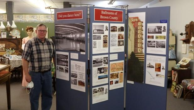 """Dan Groebner of the Brown County Historical Society recently brought his display of """"Ballrooms of Brown County"""" to the local museum."""