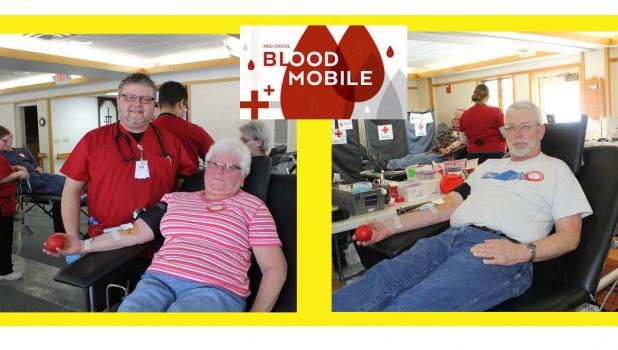 Phyllis Weber and Arden Brand at the Red Cross Bloodmobile held at St. John Lutheran Home, Monday, January 29.
