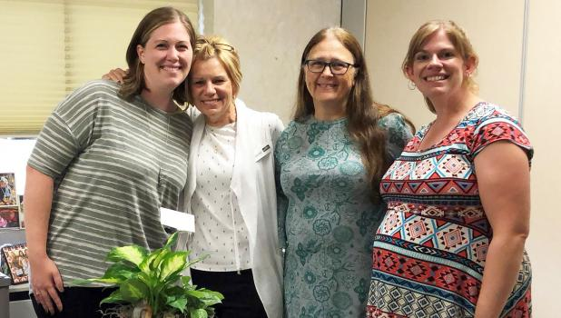 Bridge Builder of the Year winner Maxine Meine (second from left), is pictured with Bridging Brown County representatives, Lindsy Ludewig (left) and Bridging Brown County directors Clarice Platz and Ashley Aukes.