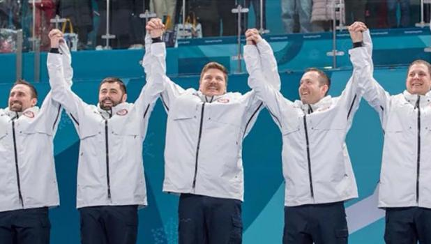 The gold medal-winning United States men's curling team, from left:  Joe Polo, John Landsteiner, Matt Hamilton, Tyler George, and John Shuster.