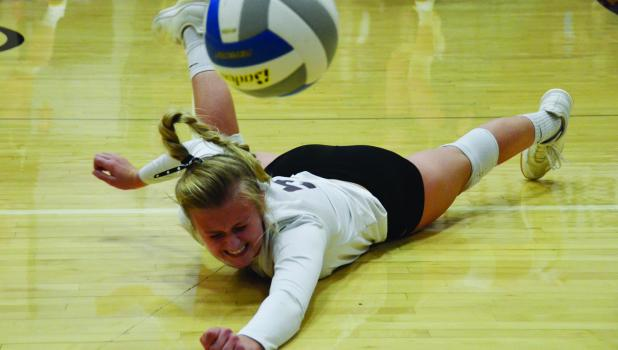 True to her name, Maddy Digmann tallied up 18 digs last Thursday during the Sleepy Eye St. Mary's match.