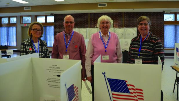 Springfield Election judges from left, Mary Schmitz, Paul Tauer, Darlene Fretham and Cheryl Diede.