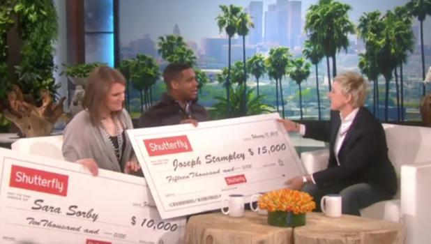 Sara Sorby received a $10,000 check from Shutterfly, and good Samaritan Joseph Stampley received  a $15,000 check from Shutterfly.