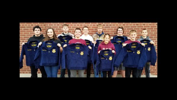 Springfield FFA members who received Blue Jackets — front, from left:Haley Runck, Caleb Hauger, Lilly McCone, and Zackary Hensch. Back: Danny Bryer, Jayce Wright, James Coffland, Preston Moen, Connor Scholten, Logan Richert