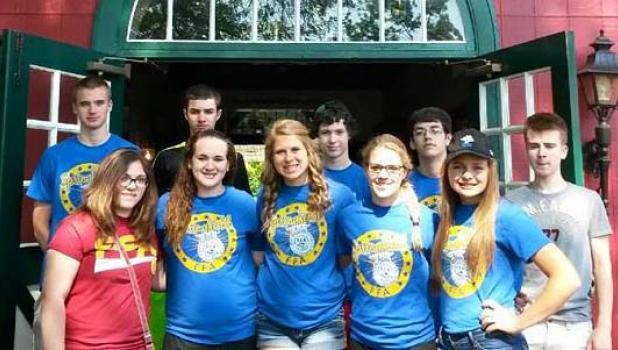 Local FFA members in front of Stallion Barn at Grant's Farm — front, from left: Marah Larson, Angie Krebs, Kaelyn Platz, Anna Plotz and Brandi Platz. Back: Andrew Beckman, Tyson Meidl, Devon Sargent, Alex Quesenberry and Dalton Brown.