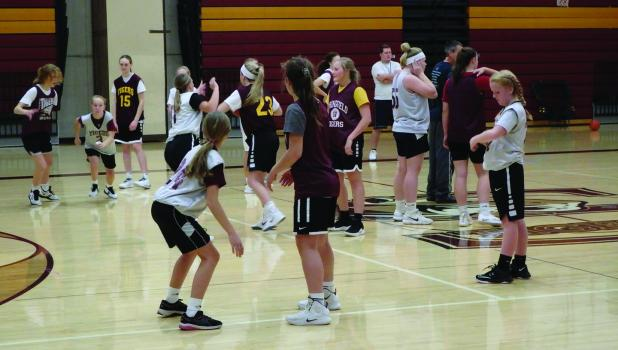 Girls basketball start practice for this season with Head Coach Dillon Schultz and Assistant Coaches Mike Kelly and Brent Haseleu.