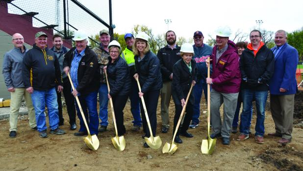 Pictured from the left Paul Arnoldi, Lowell Helget, Joe Stremcha, Floyd Rogotzke-Sons of the American Legion,Steve Helget, Dawn Buddensiek-Mayo Foundation,  Dale Knutson, Lori Milbrath- Roland Boettger Trust, Ramsey Beyer, Jodi Pieschel-The Pieschel Foundation, Dale Lindmeier, J.D. Davidson-American Legion, Judy Rubey, Ryan Breisch and Keith Kottke.