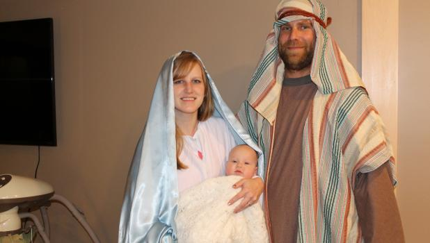 Samantha and Adam Hesse and their four-month-old daughter, Rowyn, will portray Mary, Joseph and the Baby Jesus in this year's Nativity Pageant.