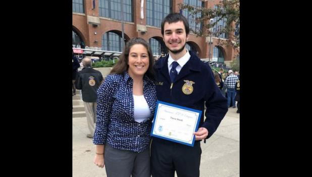 Under the guidance of FFA Advisor Sarah Lee, Tyson Meidl received his American FFA Degree on November 2, 2019.