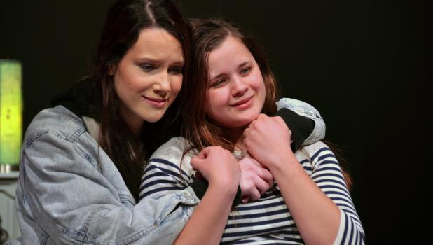 Grace Pingeon and Sarah Kottke rehearse their parts as sisters, Jamie and Jo last Thursday for the One-Act play.
