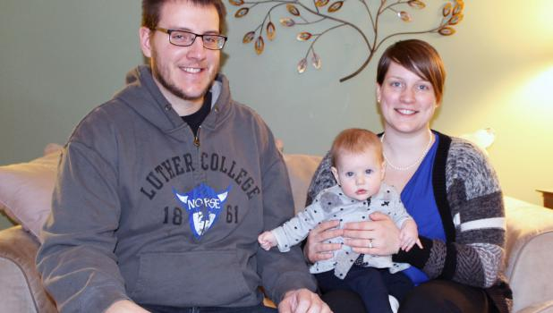 Jordan and Jeanette Pidde and five-month-old daughter Lorelei are cast as Joseph, Mary and the Baby Jesus in the 2014 Springfield Nativity Pageant.
