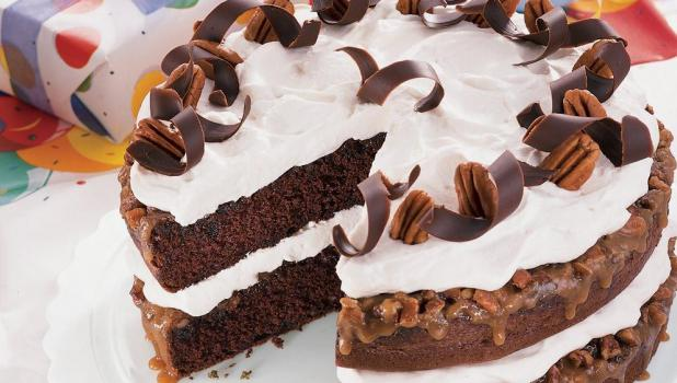 Julie's prize-winning Chocolate  Praline Layer Cake will be served at The Springfield Area Historical Society's summer reception Friday, June 19, from 2:00 to 4:00 p.m. at the Springfield Museum on Central Street.