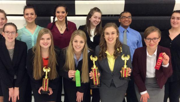 River Valley Speakers at Worthington Tournament on February 4 —front from left: Julieanna Reindl, Emily Scheitel, Anna Plotz, Kaitlyn Vogel, and Libby Tonn. 
