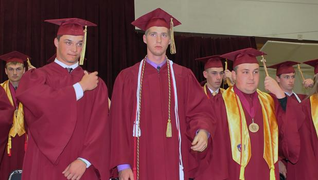 Thirty-four members of the Springfield High School Class of 2019 turned the tassels on their caps during commencement ceremonies Friday evening.  The gesture of moving the tassel from one side of the cap to the other symbolizes the individual's movement from candidate to graduate.