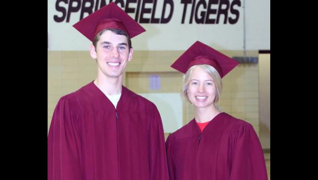 Valedictorian Elijah Kirschstein and Salutatorian Sarah Dunn — will lead their classmates into the school gymnasium for 2019 Commencement Friday evening.