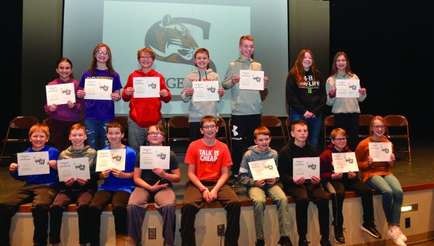 Top spellers in Grades 5, 6, 7 and 8 at Springfield Public School who participated in the local competition in the Scripps Spelling Bee. Front row L to R:  Ely Streich, Parker Kuehn, Eli Heglund, Christopher Boss (runner-up), Bryan Buerkle, Dane Fast, Grady Korkemeier, Will Schmidt and Chloe Krueger. Back Row L to R:  Cosette Klotz, Aliza Griffis, Kade Nachreiner, Russell Beers (champion), Grant Kuehn, Kiera Lafferty, and Gabby Anderson.