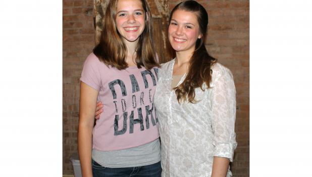 Jacklynn Reindl, left, wins a trip to the Minnesota Sings competition as a result of here winner Springfield Sings competition Saturday night. Elizabeth Schmitz, right, is runner-up