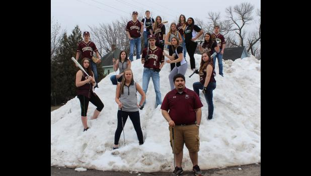 Springfield High School Yearbook Advisor Mandy Brown took this photo for the Yearbook  of  local seniors who participate in spring sports. They're ready to play  ball — baseball, softball and golf — but unseasonably cold and wet weather has made fields unplayable and conditions unfavorable.
