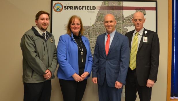On Thursday, Dec. 12 The City of Springfield announced a new partnership with Allina Health. Pictured L-R are  Joe Stremcha, City Manager, City Councilwoman Dr. Theresa Beckman, New Ulm Medial Center President Toby Freier, and Dr. Andrew Reeves, Neurology, New Ulm Medical Center.