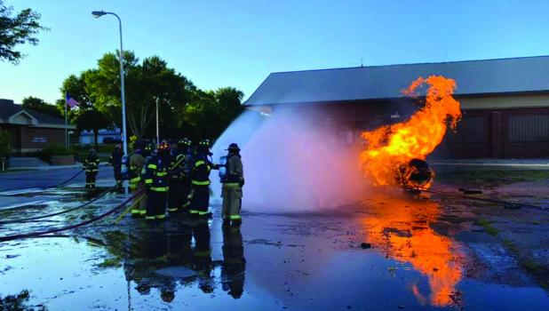 Approximately 20 volunteer firemen worked on a LP burn last Wednesday evening as part of their training with the Springfield Fire Department.
