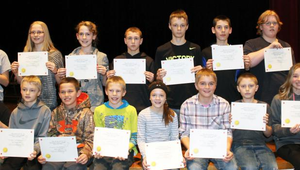 Top spellers at Springfield Public School participated in the local spelling bee — front, from left: fifth-graders Nicholas Peterson, Tate Mathiowetz, James Coffland and Ethan Burden; and sixth-graders, Maddie McCone, Tyler Vanderwerf, Ethan Langseth and Kendall Kelly.  Back: Seventh-graders, Sydney Hauger, Eva Mark, Merriah Kirschstein and Owen Bertram; and eighth-graders, Hunter Mathiowetz, Elijah Kirschstein, Kendal Kopischke and Allison Krueger.