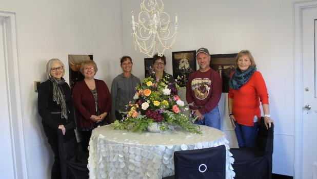 Char Frank and employees of Springfield Floral and Décor by Char — Denise Wellner, Linda Haak, Cheryl Lang, Kevin Schwartz, and Barb Jones.