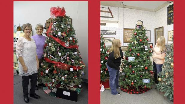 Memory Makers Quilt Club members Laura Lee Bast and Arliss Petersen decorated a Christmas tree at the Springfield Museum, Christina Van Batavia and Michelle Farmer decorated a Christmas tree to represent the Red Rock Bank.