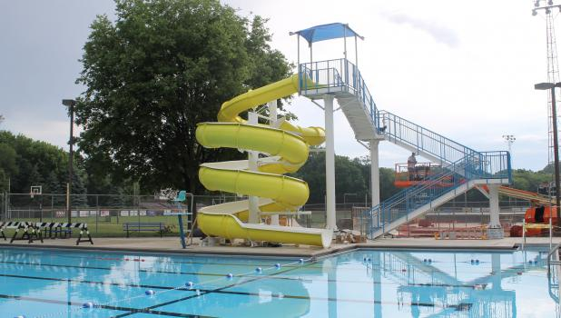 The new waterslide at Springfield Municipal Pool is near completion and scheduled for use this weekend.