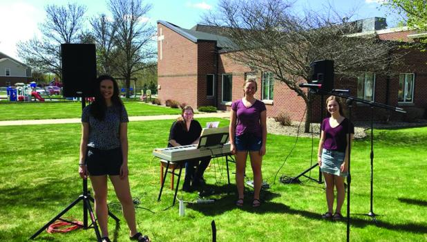 Pictured from left are Springfield students Sydney Hauger, Kendall Kelly and Maddie McCone with their accompanist Morgan Windsperger.