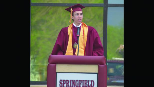 Class President Mitchell Buerkle gave his student address titled Committed to Excellence during May 21 graduation ceremony.