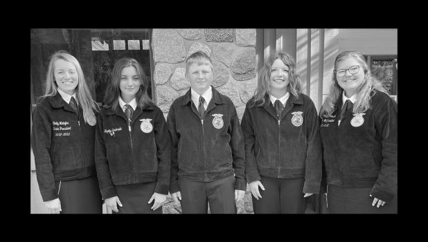 Pictured are KayLynn Sanderville, Kyler Zihlke, and Kiera Lafferty with two state officers.