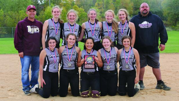 The 16u Tier 3 State Champions. Back row: Coach Travis Richert, Brooklyn Sturm, Brenna Pabst, Becca Kuck, Courtlyn Runck, Jalivia Richert, Coach Dustin Hauschild. Front row: Kyliey Hauschild, Jaeli Richert, Astrid Ramirez, Rachel Beadell, Alyssa Ulrich (not pictured: Madyson Digmann). Photo contributed.