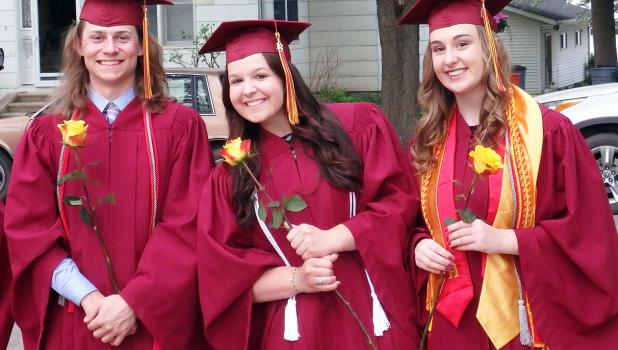 Smile!  You're a graduate! Ross VanDerWal, Makenna Winkelmann and Kate Vogel.