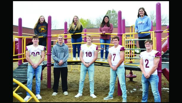 Springfield's Homecoming court Front  L to R: Kadin Johnson, Tyler Vanderwerf, Mason Leonard, Dylan Batzlaff, Tori Helget. Back Row, Left to Right: Courtney Wendt, Kennedy Groebner, Kimberly Infante, Cylee Graff not pictured, Anna Mattson.