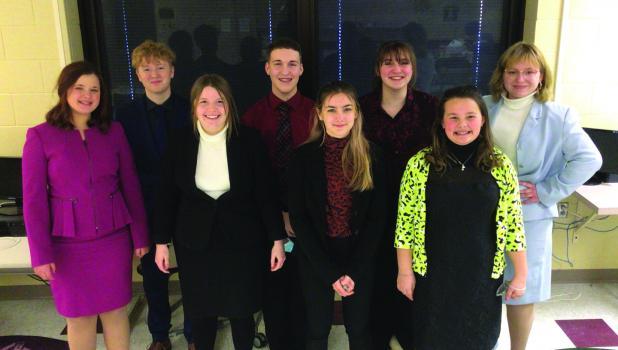 River Valley Speech Team (l to r): Sarah Kottke, Joseph Jensen, Kiera Lafferty, Jace Rosenau, KayLynn Sanderville, Sydne Wahl, Aubree Paplow, Libby Tonn.