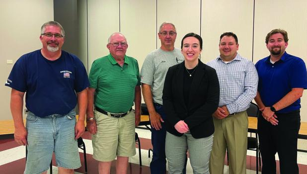 Springfield's newest police officer Vanessa Bellmont was sworn in during the July 20 City Council meeting. She is pictured with Chief John Nicholson, Council members John Ryan, Mike Rothmeier, Nick Klisch and City Manager Joe Stremcha.