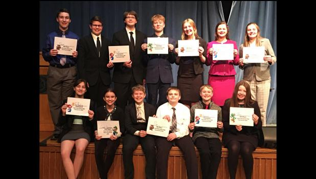 Taking first place as a team were the junior high speakers of River Valley Speech team at the tournament held on Tuesday, March 10.