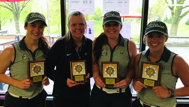 Tiger Girls Golf team wins conference championship for fourth year.  From left:  Mackenzie Lothert, LaCole Weisensel, Makenna Winkelmann,  and Anna Plotz.