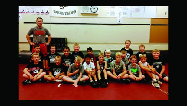 Front Row (L to R): Stan Heiling, Cole Jensen, Ely Hoffman, Carlos Rangel, Drew Altermatt, Paytin Johnson, Merik Altermatt, Logan Shoen, Aiden Krebs. Back Row (L to R): Jacob Breisch, Gage Hunter, Tiago Linan, Brody Jensen, Giovanni Rangel, Korbin Imker, Blake Wilhelmi, Easton Heglund, Abel Schwanke. Standing in back: Camp Clinician Brady Schneeberger.  